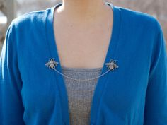 Bee Cardigan Clip Silver or Bronze by DapperandSwag on Etsy, $20.00