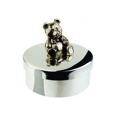 "Keepsake Box - Teddy Bear 1 7/8"" diameter in Pewter"
