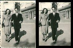Restauración de fotografía histórica. Mi abuelo y su hermana, c. 1946, Madrid.