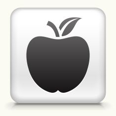 Square Button with school Apple royalty free vector art vector art illustration