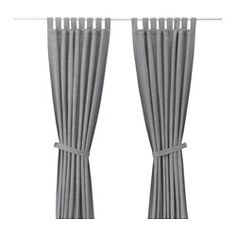 """IKEA - LENDA, Curtains with tie-backs, 1 pair, 55x98 """", , The curtains lower the general light level and provide privacy by preventing people outside from seeing directly into the room.The tab heading allows you to hang the curtains directly on a curtain rod."""