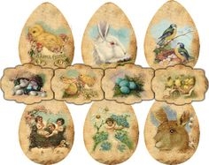 Printable Easter Freebies-these wonderful Printable Easter Freebies, created by Nika from Vintage-Papers.com  Nika uses some of my images in the gorgeous digital works that she sells on her site. She was so kind to create a set to share with all of us! There are 3 pages in all, Page 1 has a pair of beautiful distressed Postcards, Page 2 has some wonderful Easter Gift Tags and Stickers and Page 3 includes some darling Egg shaped Tags! -