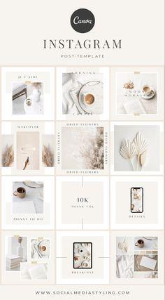 Instagram Feed Planner, Instagram Feed Ideas Posts, Instagram Feed Layout, Instagram Grid, Instagram Post Template, Instagram Design, White Feed Instagram, Design Page, Web Design