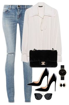 """""""Untitled #3079"""" by theaverageauburn ❤ liked on Polyvore featuring Yves Saint Laurent, Plein Sud, Chanel, CLUSE, Quay and Bounkit"""