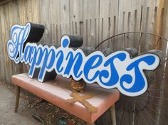 LED Channel 'Happiness' Marquee Sign in Cursive Blue Font: Large Reclaimed Industrial Salvage Advertising Letters / Word, Working Lights