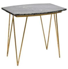 Piazza Hollywood Regency Black Marble Gold Side Table. #kathykuohome
