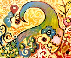 Abstract Modern PEACOCK Original Wall Canvas Art by wescoatart, $600.00