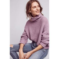 Moth Abella Turtleneck ($98) ❤ liked on Polyvore featuring tops, sweaters, lavender, polo neck sweater, pullover sweater, purple turtleneck sweater, lavender top and light purple sweater