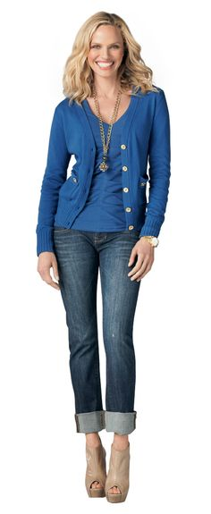 CAbi look blue cardigan with pleated tee - love it