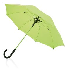 "Neon 23"" full fibreglass umbrella. Full fibreglass 190T pongee polyester neon coloured umbrella with auto open function. Full fibre glass frame, shaft, ribs, in matching colours, ABS plastic curved handle and windproof system."