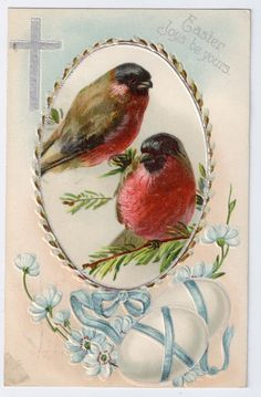 Vintage Easter Postcard 1909 Birds Finches Cross Embossed Chromolithograph - Holidays