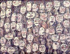 Tableau de Jean Dubuffet  Affluence, 1961 / huile sur toile - 89 x 116 cm /m