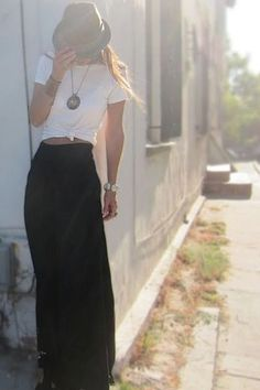 Rock 'n' Roll Style ✯ Basic white tees with a black maxi. Moon Child