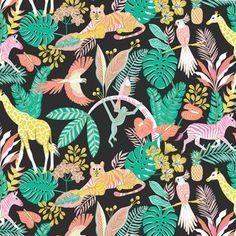 Zwarte katoen met tropische bladeren en dieren  110 cm breed 100% katoen    Deze stof is te koop per 25 cm. Wil je bv. 1 meter aankopen, vul dan '4' in bij aantal. De stof wordt uit 1 stu...