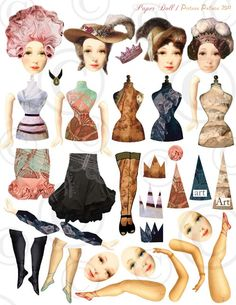 Vintage women paper dolls, Torso Tags, Legs, Hats, & Crowns.