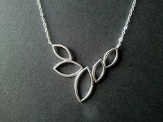5 Marquise Leaves Silver pendant Necklace Leaves by LaLaCrystal, $24.50