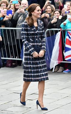 14 October 2016 - William and Catherine visit Manchester - coat by Erdem, shoes by Rupert Sanderson