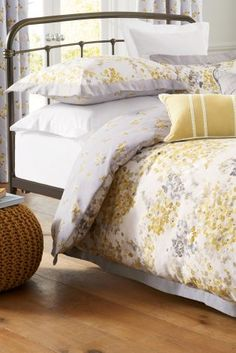Cotton Sateen Ochre Watercolour Floral Bed Set From Next