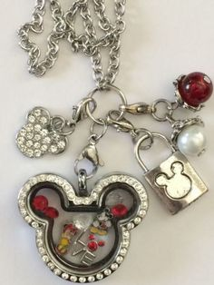 Mickey Mouse Minnie Mouse Inspired Memory Living Locket Mickey Necklace Love