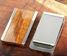 Classic Style Genus Hawaii Koa Wood Inlaid Stainless Steel Made Money Clip