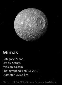 Mimas - a Saturn Moon Solar System Poster, Space Solar System, Solar System Planets, Astronomy Facts, Planetary Science, Space Planets, Space And Astronomy, Sistema Solar, Constellations