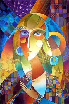 """Купить Батик """"Девушка с птицей"""" - батик, ручная роспись, натуральный шелк, handmade, batik, панно"""