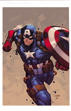 Captain America by JonBoy Meyers, Color by Ross-A-Campbell Marvel Comic Character, Comic Book Characters, Comic Book Heroes, Marvel Characters, Comic Books Art, Comic Art, Marvel Comics, Marvel Heroes, Jack Kirby