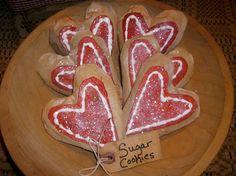 13 Bakers dozen Primitive Red Iced Valentines by oldgoatprims, $23.00