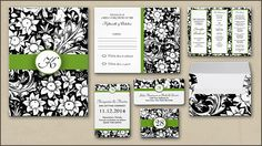 BLACK AND WHITE CLASSIC WEDDING INVITATION with matching paper items: RSVP cards, trifold wedding programs, address labels, wedding table cards, black and white envelopes and magnet.