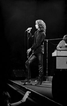 American singer Jim Morrison of the rock group the Doors perform on stage at the Fillmore East concert venue New York New York March 22 1968 Keyboard...