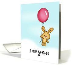 I miss you - Cute Bunny with Balloon! card -- Gerda Steiner Designs