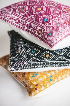Image of gathered goods   mexican woven square pillow covers   golds