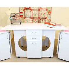 Sewing Machine Cabinets - Tailormade Cutting Table in White or Teak, Call 877-530-6592 For Pricing (http://www.sewingmachinecabinets.com/tailormade-cutting-table-in-white-or-teak/)