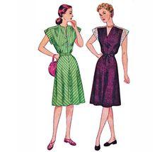 1945 Vintage Shoulder Interest Dress Gathered at Shoulder