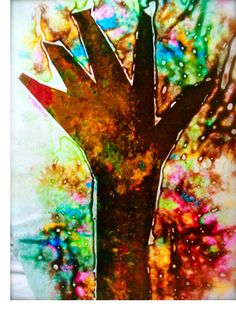 Autumn Educational Craft: Melted Crayon Hand Print Tree *saving this for later