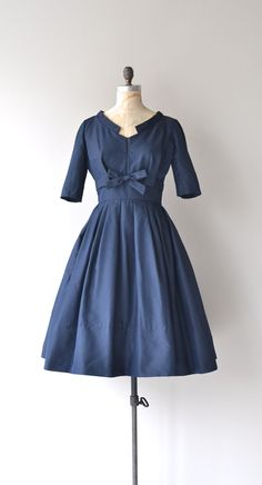 Nightingale dress vintage 1950s dress navy blue by DearGolden