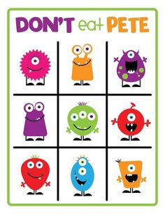 "Free ""Don't Eat Pete"" Game Board -- describe the monster! Or play monster bingo! Language therapy for kids Halloween Games, Holidays Halloween, Halloween Party, Preschool Halloween, Monster Party, Monster Mash, Anime Zone, School Parties, Little Monsters"