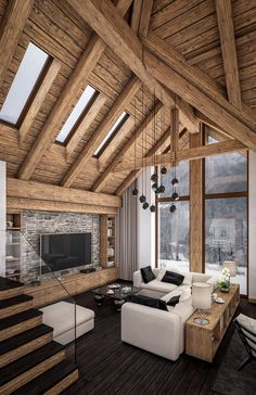 Cool 47 Relaxing Cabins Room Design Ideas For Getaways This Holiday Season. # Cool 47 Relaxing Cabins Room Design Ideas For Getaways This Holiday Season. Rustic Home Design, Home Interior Design, Chalet Interior, Rustic Modern Cabin, Modern Lodge, Modern Interior, Beautiful Houses Interior, Cabin Homes, Living Room Interior