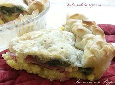 La torta salata ripiena è un piatto unico sostanzioso e ricco di gusto. Una torta salata ripiena con patate, speck, scamorza e carciofi semplice da fare...