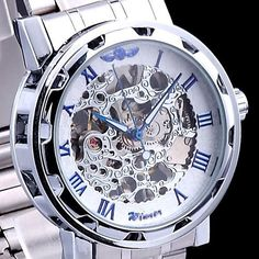 Luxury Mechanical Men's Steampunk Skeleton Mens Men Stainless Steel Wrist Watch