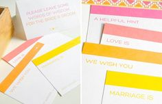 Guestbook Advice Cards