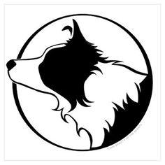 I like this design- Border Collie Head B&W Poster-