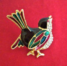 Broche oiseau métal doré or fin émaux rouges verts noirs strass vintage  brooch 220b613da28