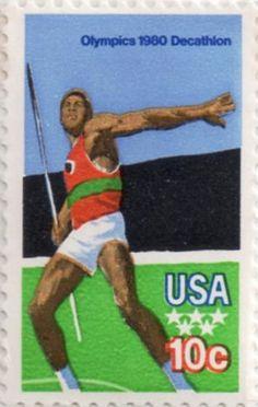 US postage stamp, 10 cent.  Olympics 1980 Decathlon.  Scott catalog 1790.