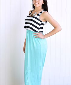 Another great find on #zulily! éloges Mint & Black Stripe Tiered Maxi Dress by éloges #zulilyfinds