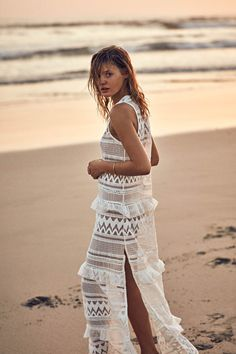 5d778ba6c7c54 Kisuii Estela Tiered Maxi Lace Maxi, White Maxi Dresses, Sheer Dress, Beach  Dresses