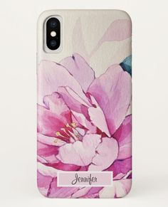 Pretty pink peony flower monogram iPhone case, customizable design, just add your name or the name of the receiver / iPhone XS floral case / afflink Peony Flower, Pink Peonies, Birthday Presents, Plastic Case, Watercolor Flowers, Gifts For Dad, Pretty In Pink, Iphone Cases, Monogram