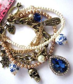 Betsey Johnson skull Crystal Multilayer charm bronze bracelet USA SELLER  #BetseyJohnson