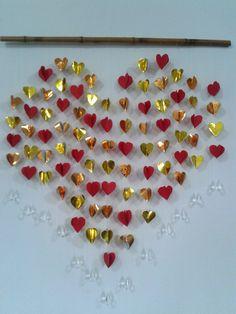 Mobile de coração. #kirigami #corações. criação: Mauro Shiroma