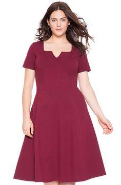 ELOQUII Notch Neckline Scuba Knit Fit & Flare Dress (Plus Size) | Nordstrom